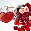 Painted Valentine heart and beautiful rose — Stockfoto