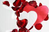 绘的情人节心和美丽的玫瑰 — 图库照片