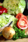 Mix of sliced ingredients for vegetable salad — Stock Photo