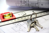 Architecture on the table with tools and keys — Stock Photo
