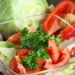 Stock Photo: Mix of sliced ingredients for vegetable salad