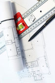 Architecture project on the table and tools — Stock Photo
