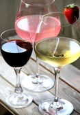 Mix glasses of red, rose and white wine — Стоковое фото