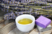 Mix of lavender flowers and cosmetic  — Stock Photo