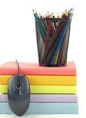 Books,Mouse, And Pencils — Stock Photo
