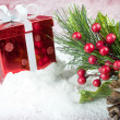 Red Box And Christmas Leaves In Snow — Stock Photo #16277541