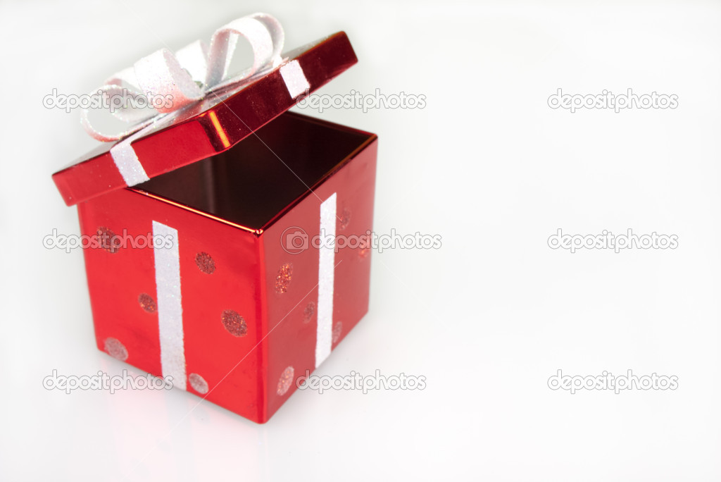 Red Christmas box isolated on white  Stock Photo #16277517