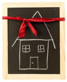 Red Ribbon Gift House — Stock Photo