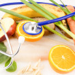Healthy Food With Stethoscope - Stock Photo