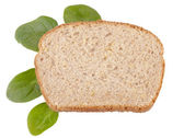 Bread And Spinach Leaf — Stock Photo