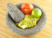 Molcajete Mortar Bowl and Pestle Filled With Guacamole And Ingre — Stock Photo
