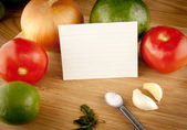 Cutting Board With Ingredients And Blank Recipe Card — Stock Photo