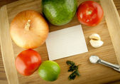 Cutting Board With Vegetables And Ingredients With Blank Recipe — Stock Photo