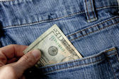 Pulling Out Money From Rear Pocket — Stock Photo