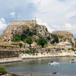 Hellenic temple and old castle at Corfu island — Stock Photo