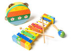 Tambourine, rattle and xylophone — Stock Photo