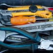 Used tools in toolbox — Foto de stock #13480502