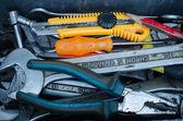Herramientas utilizadas en una caja de herramientas — Foto de Stock