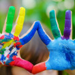 Stock Photo: Painted colorful hands