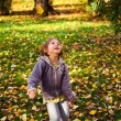 Autumn fun, happy child  — Stock Photo