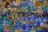 Messy graffiti metal wall — Stock Photo