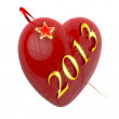 New year 2013, red heart and flying star — Stock Photo