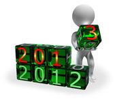Nowy rok 2013 na zielonej kostki — Zdjęcie stockowe