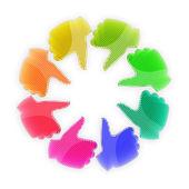 Círculo de manos coloridas - pulgares arriba — Foto de Stock