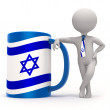 Cup with Israel flag and small character wearing tie — Stock Photo