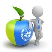 Apple with United Nations flag and businessman — Fotografia Stock