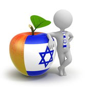 Apple with Israel flag and businessman — Stock Photo