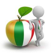 Apple com bandeira italiana e empresário — Fotografia Stock