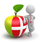 Apple with Denmark flag and businessman — Stock Photo
