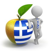 Apple with Greece flag and businessman — Stock Photo
