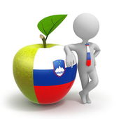 Apple with Slovenia flag and businessman — Stock Photo