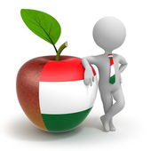 Apple with Hungary flag and businessman — Stock Photo