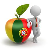 Apple with Portugal flag and businessman — Stock Photo