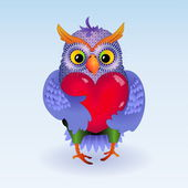 Owl with heart — Stock Vector