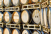 Rack of Old Oak Wine Barrels — Stock Photo