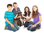 Happy Family With Rescue Dog — Stock Photo