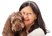 Happy Woman Holding Senior Dog — Stockfoto