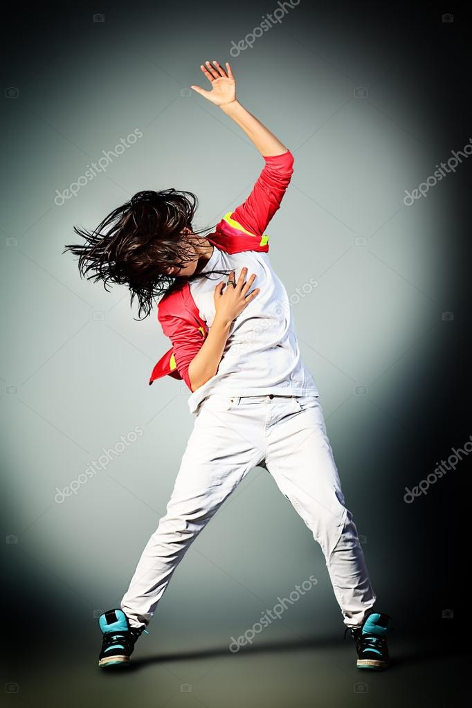 Modern girl dancing hip-hop at studio. — Stock Photo #12584760