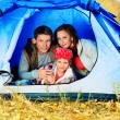 Family in tent - Stock Photo