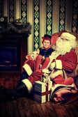Elf y noel — Foto de Stock