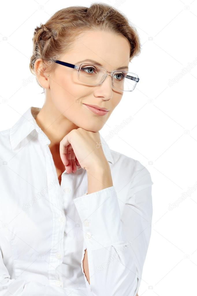 Portrait of a smiling confident business woman. Isolated over white. — Stock Photo #14840287
