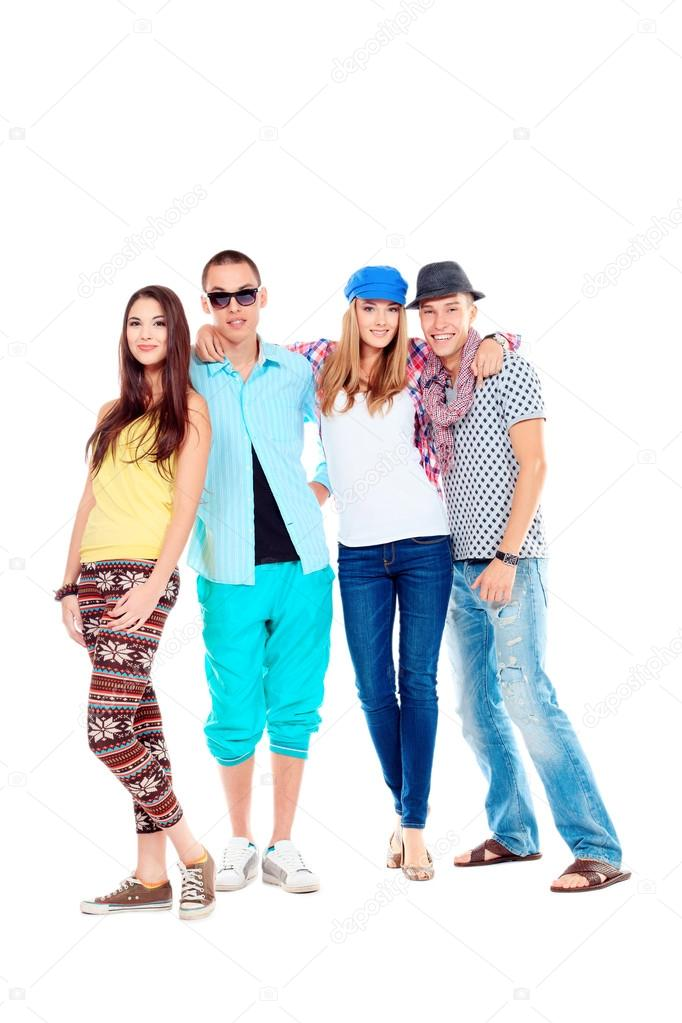 Group of happy young standing together. Friendship. Isolated over white. — Stock Photo #14840371