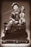 バラとバイオリン — ストック写真