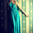 Turquoise dress - Stock Photo
