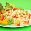 Stock Photo: Vegetables and rice