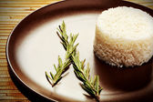 Steamed white rice on a brown plate. — Stock Photo